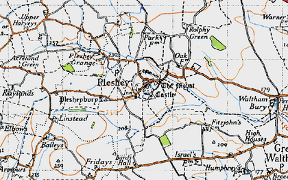 Old map of Pleshey in 1946