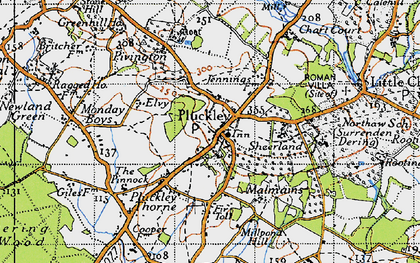 Old map of Pluckley in 1940
