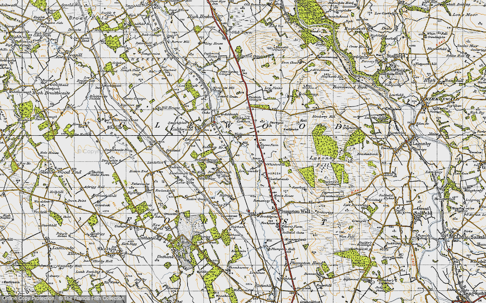 Old Map of Historic Map covering Aikbank Common in 1947