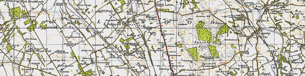 Old map of Aikbank Common in 1947