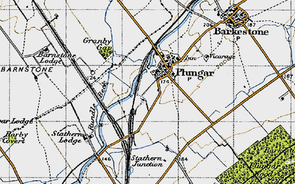 Old map of Langar Airfield in 1946