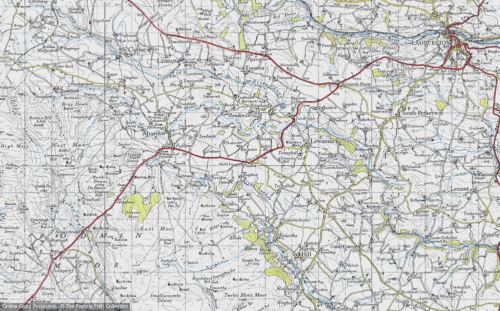 Old Map of Historic Map covering Tolcarne in 1946