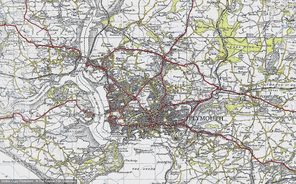 Old Map of Plymouth, 1946 in 1946