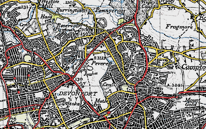 Old map of Plymouth in 1946