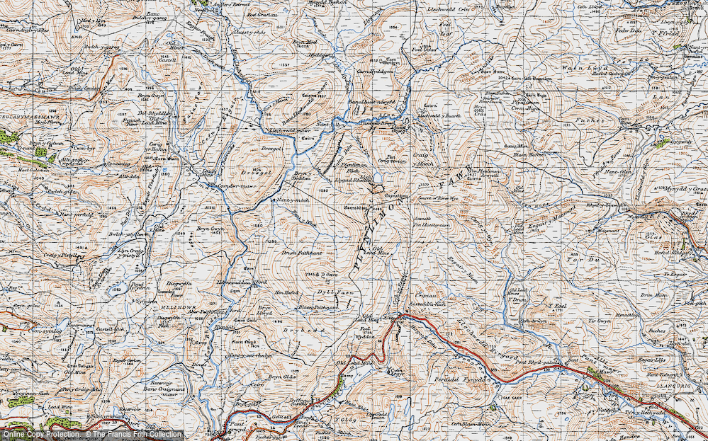Old Map of Historic Map covering Banc Llechwedd-mawr in 1947