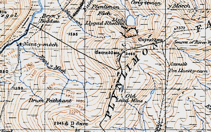 Old map of Plynlimon in 1947