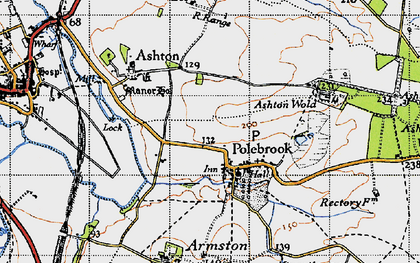 Old map of Ashton Wold Ho in 1946