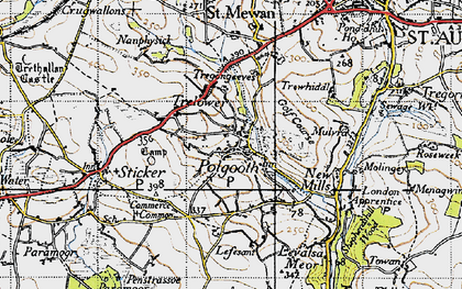 Old map of Polgooth in 1946