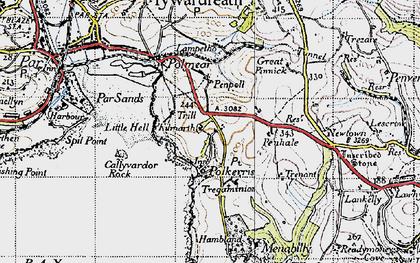 Old map of Polkerris in 1946