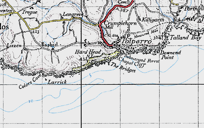 Old map of Polperro in 1946