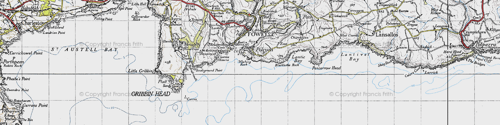 Old map of Polruan in 1946
