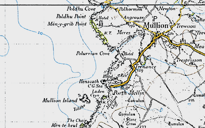 Old map of Polurrian Cove in 1946