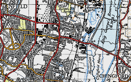 Old map of Ponders End in 1946