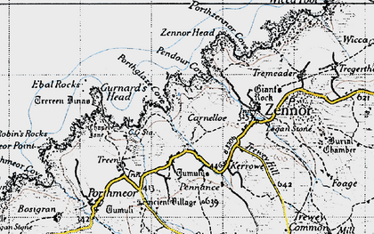 Old map of Zennor Head in 1946