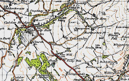 Old map of Wheel Fell in 1947