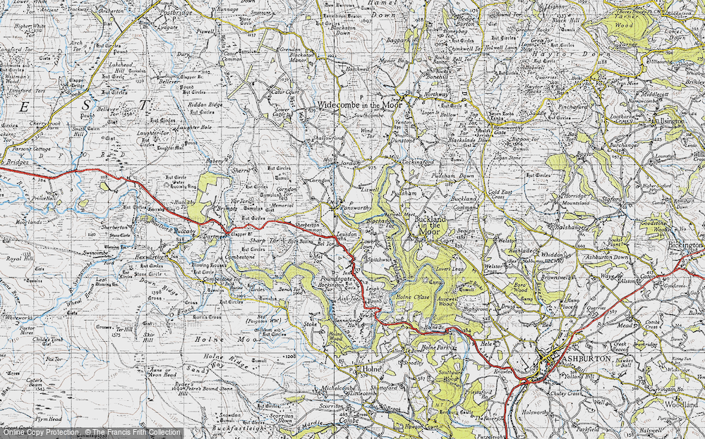 Old Map of Historic Map covering Leusdon in 1946