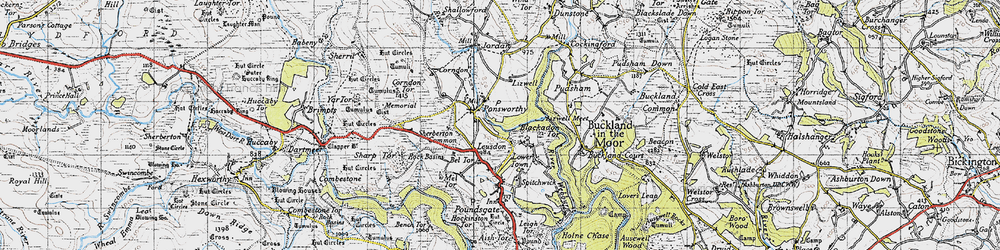 Old map of Leusdon in 1946