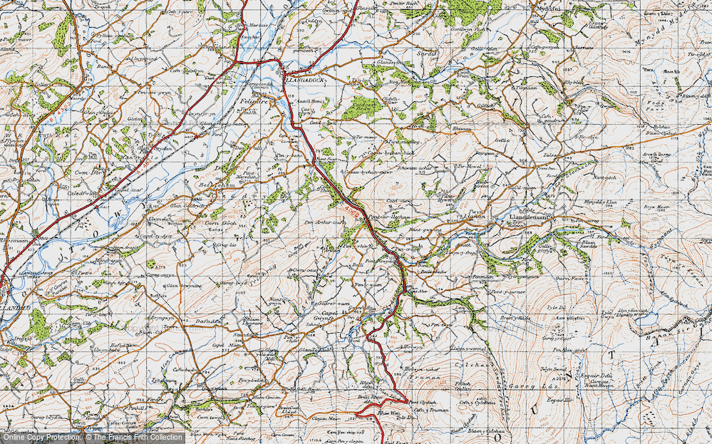 Old Map of Historic Map covering Afon Swadde in 1947