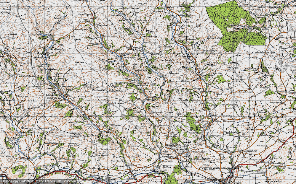 Old Map of Historic Map covering Alltycerrig in 1947