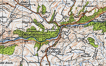Old map of Pont-rhyd-y-groes in 1947