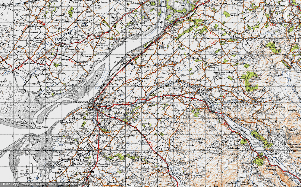 Old Map of Historic Map covering Afon Seiont in 1947
