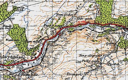 Old map of Afon Wybrnant in 1947