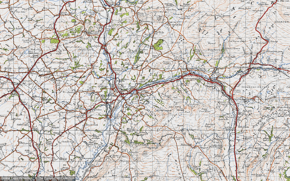 Old Map of Historic Map covering Afon Aman in 1947