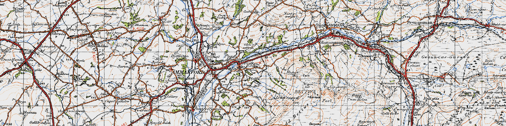 Old map of Afon Aman in 1947
