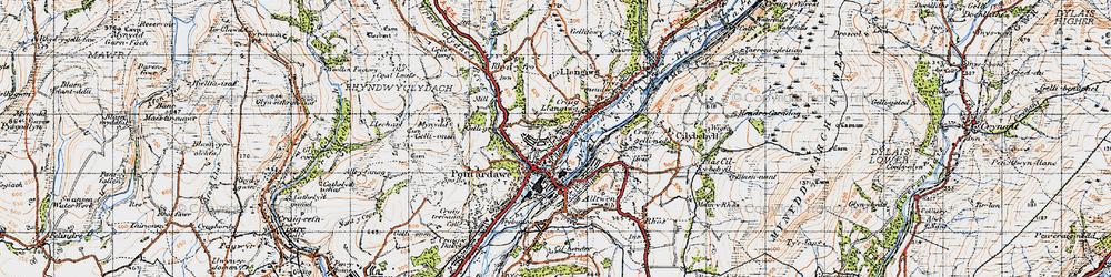 Old map of Pontardawe in 1947
