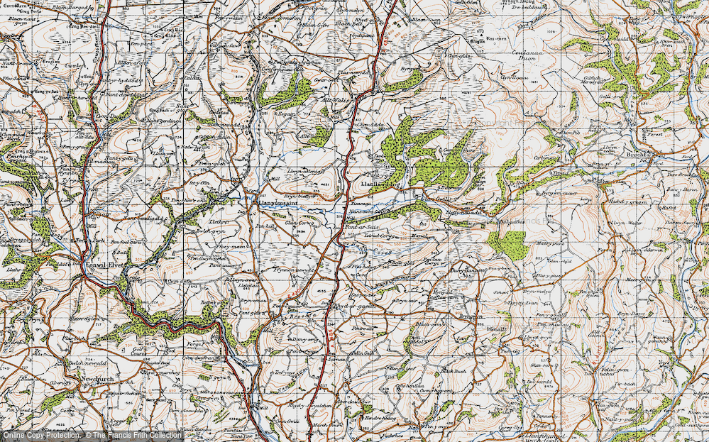 Old Map of Historic Map covering Allt y Bwbach in 1946