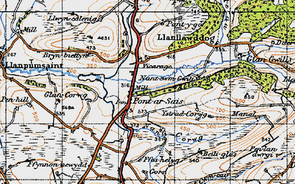 Old map of Allt y Bwbach in 1946