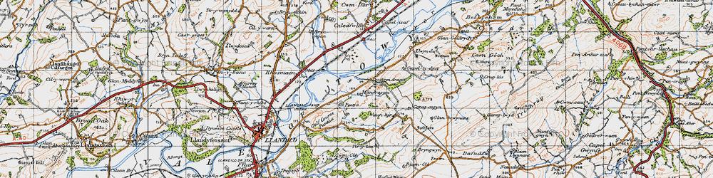 Old map of Tir-y-lan in 1947