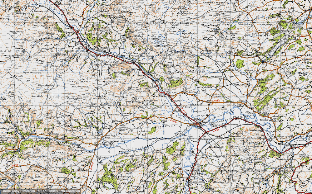 Old Map of Historic Map covering Alltwnnog in 1947