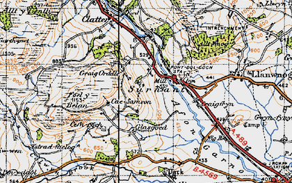 Old map of Alltwnnog in 1947
