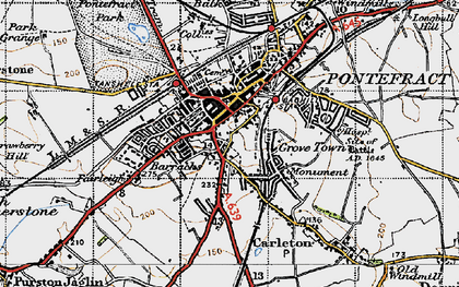 Old map of Pontefract in 1947