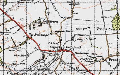 Old map of Ponteland in 1947