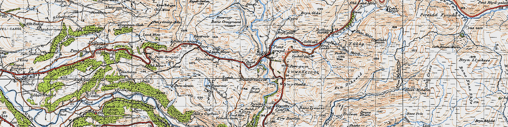 Old map of Ponterwyd in 1947