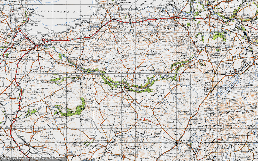 Old Map of Historic Map covering Afon Gwaum in 1947