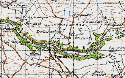 Old map of Afon Gwaum in 1947