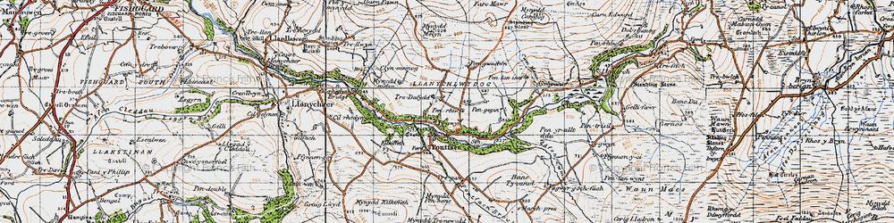 Old map of Afon Gwaum in 1947