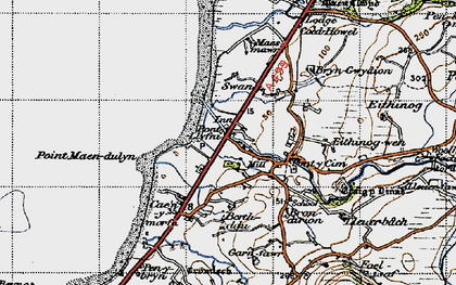 Old map of Pontllyfni in 1947