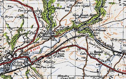 Old map of Pontneddfechan in 1947