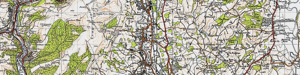 Old map of Pontnewydd in 1946