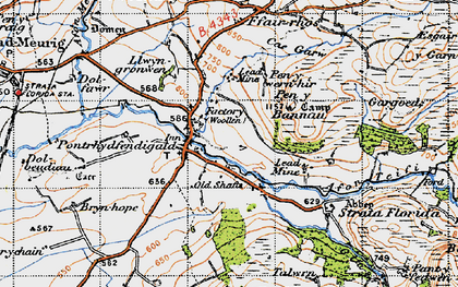 Old map of Pontrhydfendigaid in 1947