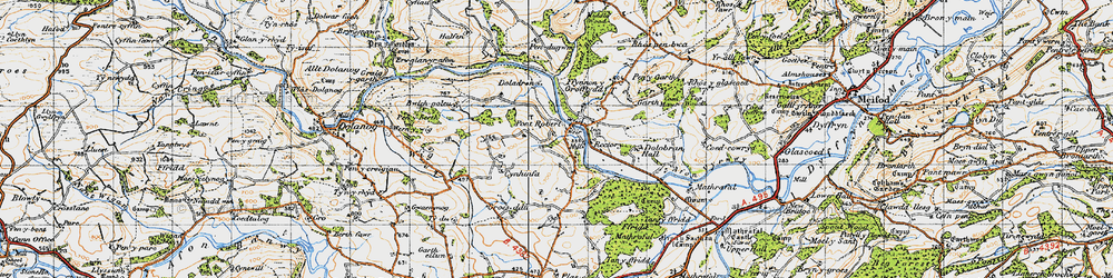 Old map of Pontrobert in 1947
