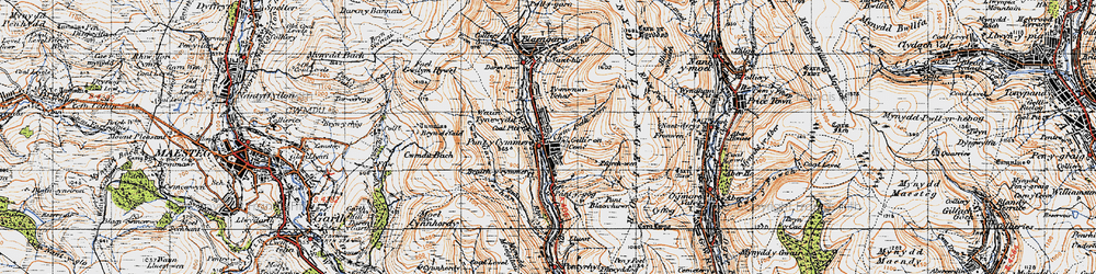Old map of Pontycymer in 1947