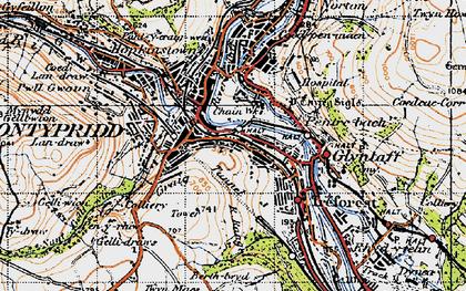 Old map of Pontypridd in 1947