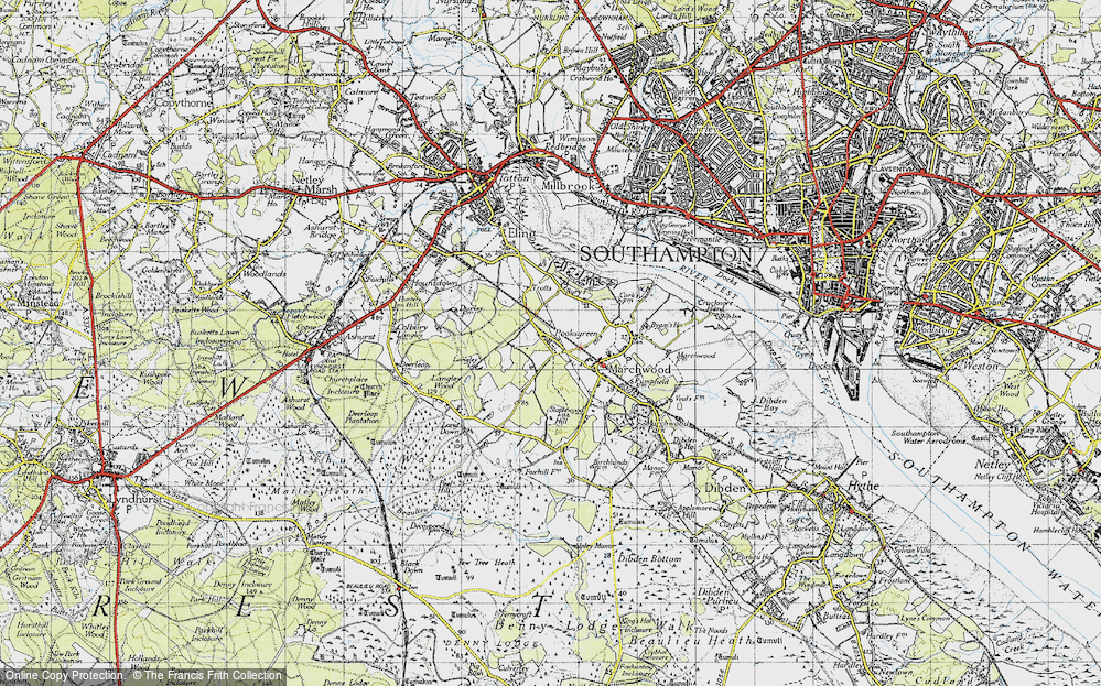 Old Map of Historic Map covering Langley Lodge in 1945