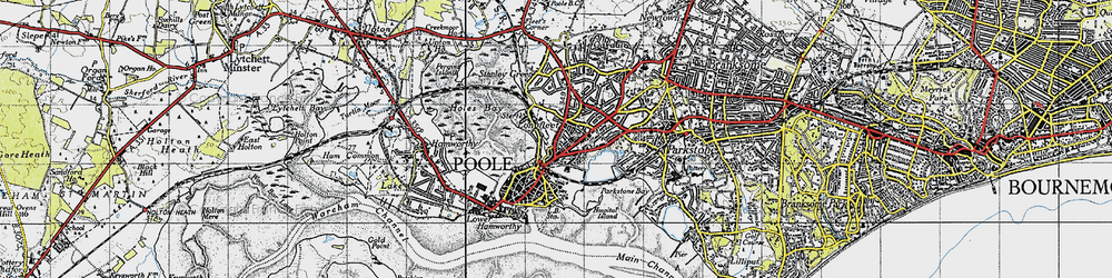 Old map of Poole in 1940