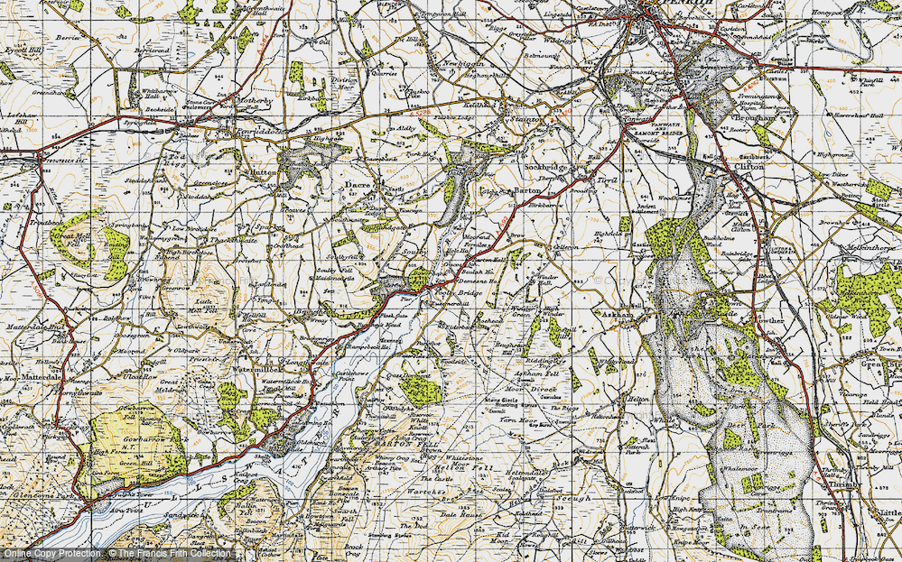 Old Map of Historic Map covering Aik Beck in 1947